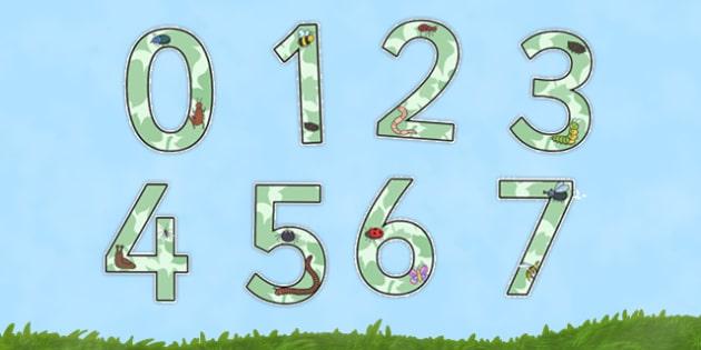 Display Numbers Minibeasts - display, numbers, minibeasts, display numbers