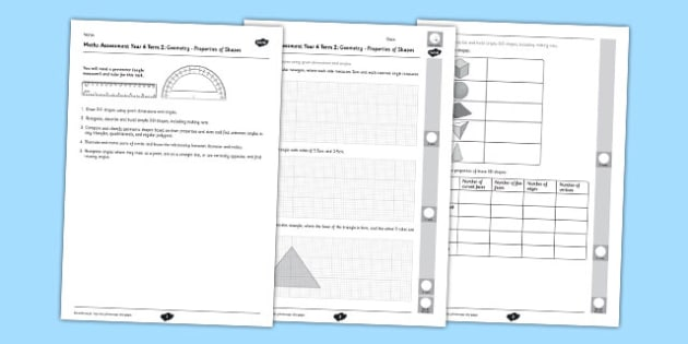 Year 6 Maths Assessment Term 2 Geometry Shape - year 6, maths, assessment, term 2, geometry shape