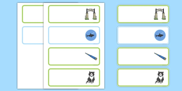 Is That a Shark? Editable Drawer Peg Name Labels - shark in the park, sharks, telescope, guessing, rhyme, rhyming, labels, signs, register, early years, eyfs