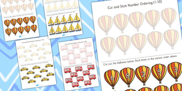Transport Themed Cut and Stick Number Ordering Activity - numbers