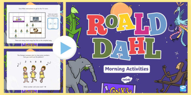 Roald Dahl Themed Reception Morning Activities PowerPoint-Welsh
