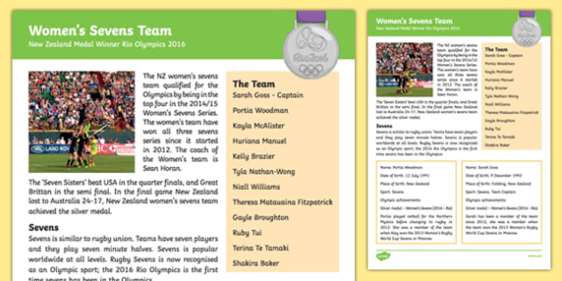 New Zealand Olympic Medal Winners Woman's Sevens Fact File