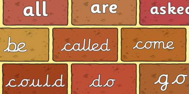 Tricky Words on Bricks - Tricky words, DfES Letters and Sounds, Letters and sounds, display, words