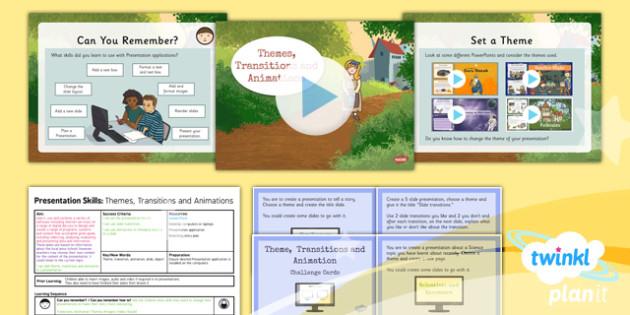 PowerPoint Presentation Skills: Themes Transit - Year 3 Computing Lesson Pack