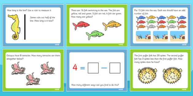 Under the Sea Themed KS1 Maths Challenge Cards - math, challenges