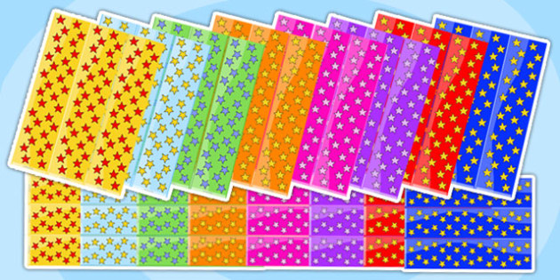 Mixed Colours Star Display Borders - star, display, borders