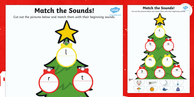 Initial Sound Christmas Tree Matching Activity - christmas, match