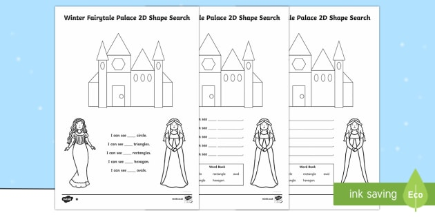 Winter Fairytale Palace 2D Shape Search Activity