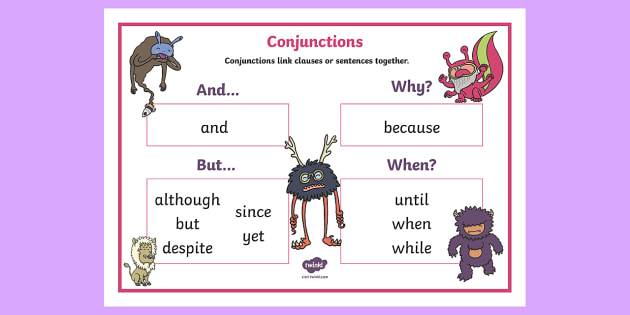 Conjunctions KS1 Word Bank - connectives, word mat, conjunctions
