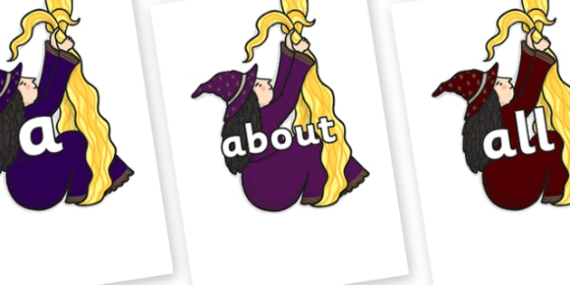 100 High Frequency Words on Climbing Witches - High frequency words, hfw, DfES Letters and Sounds, Letters and Sounds, display words