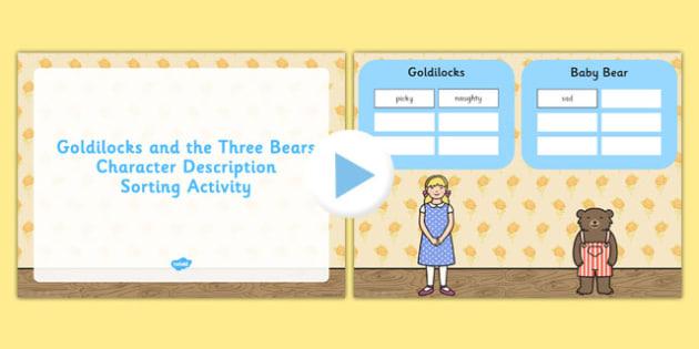 Goldilocks Three Bears Character Description Sorting PowerPoint