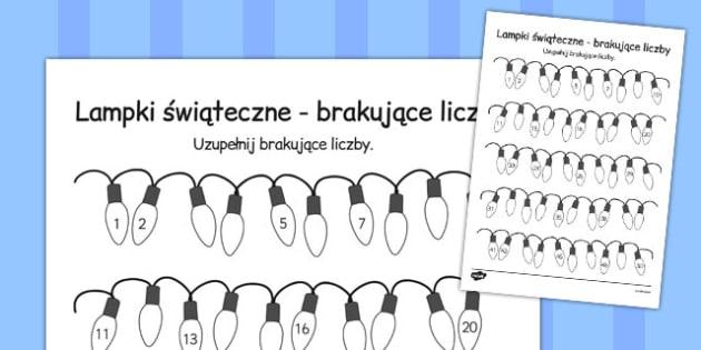 Brakujące liczby Świąteczne lampki po polsku - dzieci, liczenie , Polish, worksheet
