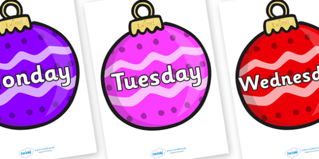 Days of the Week on Baubles (Patterned) - Days of the Week, Weeks poster, week, display, poster, frieze, Days, Day, Monday, Tuesday, Wednesday, Thursday, Friday, Saturday, Sunday