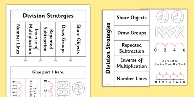 Division Strategies Flapbook - Division, divide, share, equally, solve, reasoning, inverse of multiplication