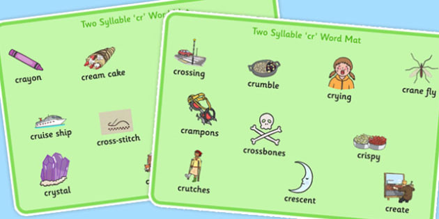 Two Syllable CR Word Mats - two syllable, cr, word mats, word, mats, sound, cr sound