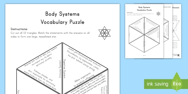 Body Systems Vocabulary Puzzle - science, key words. puzzles. word work, vocabulary, subject specific vocabulary,
