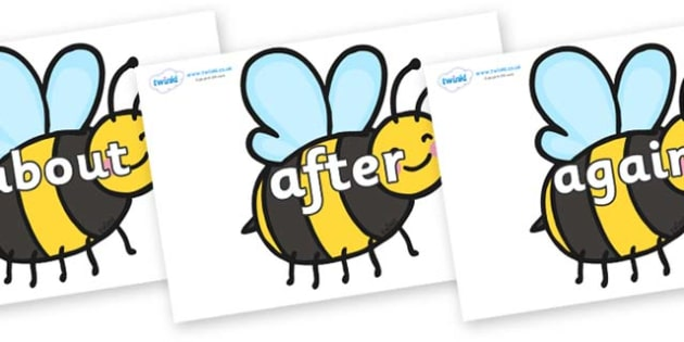 KS1 Keywords on Bees - KS1, CLL, Communication language and literacy, Display, Key words, high frequency words, foundation stage literacy, DfES Letters and Sounds, Letters and Sounds, spelling