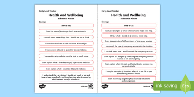 CfE Health and Wellbeing (Substance Misuse) Early Level Child Friendly Tracking