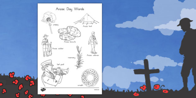 Anzac Day Words Colouring Sheet - anzac day, anzac, colour in