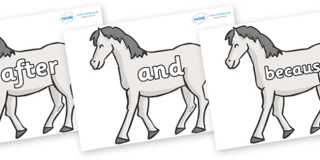Connectives on Horses - Connectives, VCOP, connective resources, connectives display words, connective displays