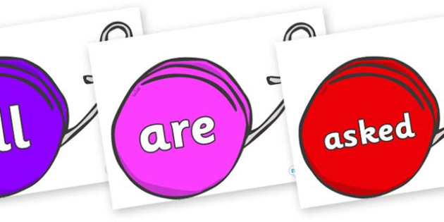 Tricky Words on Yo Yos - Tricky words, DfES Letters and Sounds, Letters and sounds, display, words