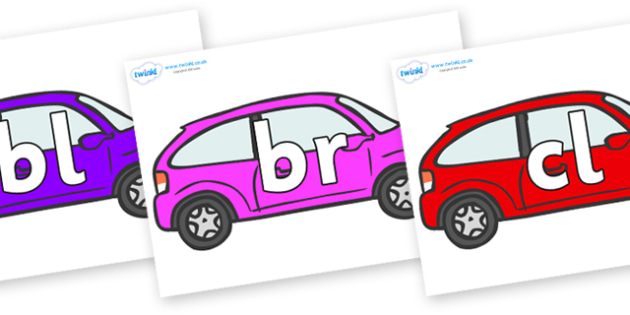 Initial Letter Blends on Cars - Initial Letters, initial letter, letter blend, letter blends, consonant, consonants, digraph, trigraph, literacy, alphabet, letters, foundation stage literacy