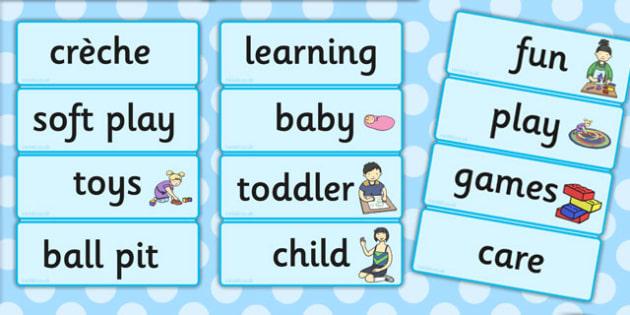 Creche Word Cards - creche, word, cards, word cards, words, play
