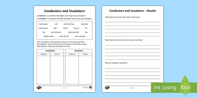 Conductors and Insulators Worksheet - materials, conductive materials, conductors, insulators, heat, how heat travels, materials worksheet, ks2 worksheet