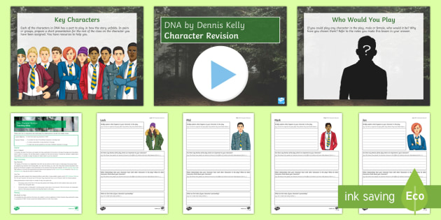 DNA   Character Revision Lesson Pack - DNA, Dennis Kelly, Leah, Phil, Mark, Jan, Danny, Lou, John Tate, Cathy, Brian, Richard, Adam, Boy. c