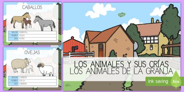 PowerPoint Los animales de la granja y sus crías-Spanish