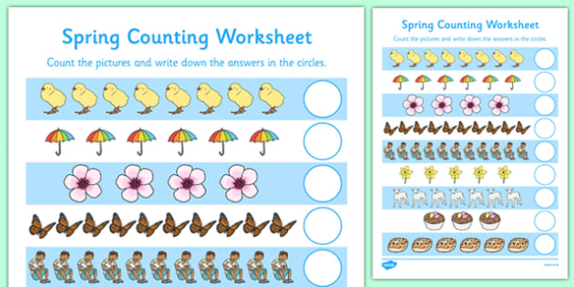 My Counting Worksheet (Spring) - Counting worksheet, Spring, counting, activity, how many, foundation numeracy, counting on, counting back, lambs, daffodils, new life, flowers, buds, plants, growth