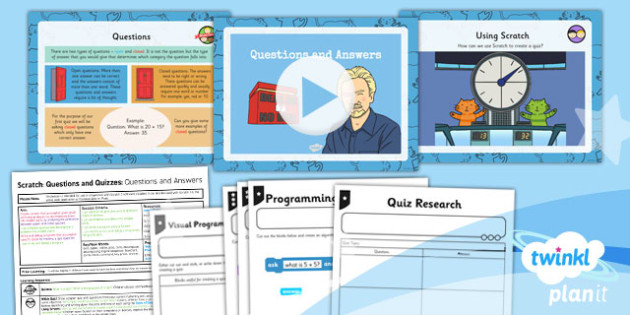 Computing: Scratch Questions and Quizzes: Questions and Answers Year 4 Lesson Pack 1