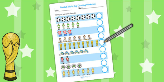 Football World Cup Counting Worksheet - football, sport, counting