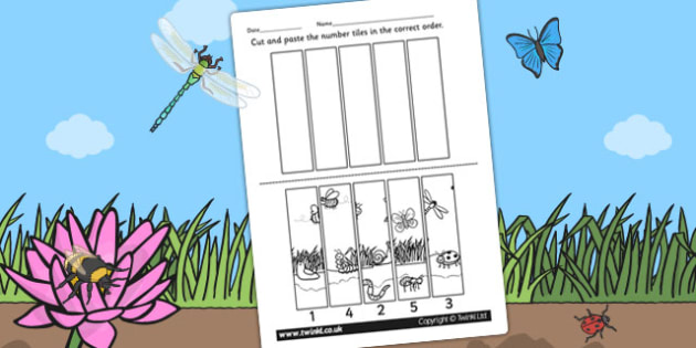 Minibeast Themed Number Sequencing Puzzle - numbers, sort, order
