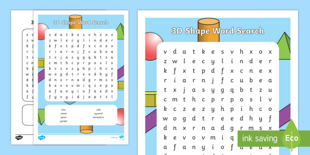 3D Shape Word Search