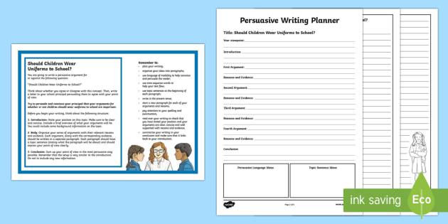 Year 5 Should Children Wear Uniforms to School? Persuasive Writing Activity Sheet-Australia