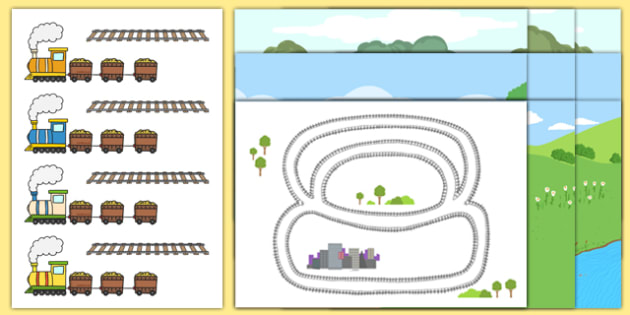 Trains and Carriages Cut-Outs and Backgrounds - scissor skills, cutting, eyfs, counting