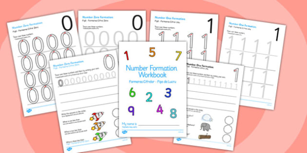 0-9 Number Formation Workbook Romanian Translation - romanian, overwriting