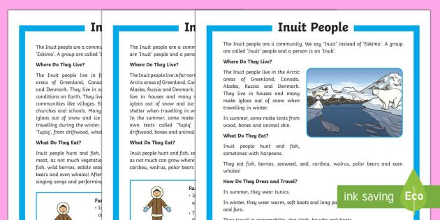KS1 The Inuit People Differentiated Reading Comprehension Activity - Inuit, Inuk, Eskimos, The Arctic, Polar Regions, north pole, indigenous people, igloo, throat singin