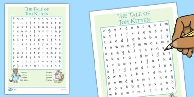 Beatrix Potter - The Tale of Tom Kitten Wordsearch - beatrix potter, tom kitten