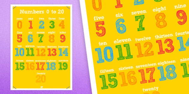 20 Numbers Poster - 20 numbers, poster, display, display poster, numbers