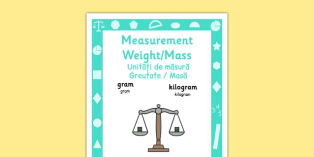 Key Stage 1 Measurement Weight and Mass Poster Romanian Translation - romanian, eal, romania, bilingual, translated,measure, measuring, measurement, weigh, compare, mass, ssm, maths, ks1, year 1, year 2