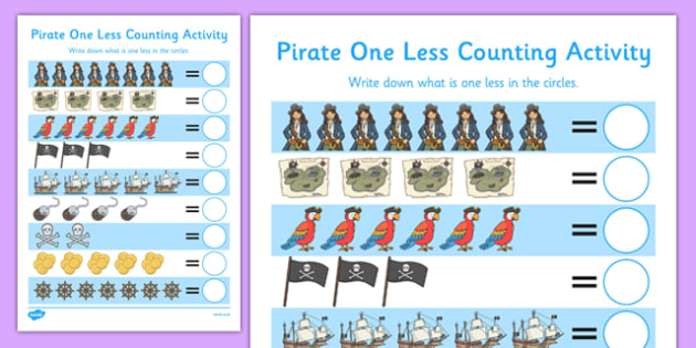 Pirate Themed One Less Counting Activity Sheet - pirate, one less, counting, activity, count, worksheet