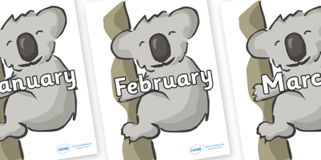 Months of the Year on Koalas - Months of the Year, Months poster, Months display, display, poster, frieze, Months, month, January, February, March, April, May, June, July, August, September