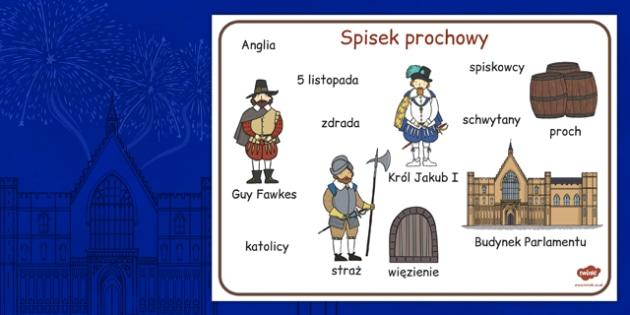 Plansza ze slownictwem Spisek prochowy po polsku - dla dzieci , Polish