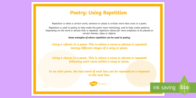 Poetry: Using Repetition A4 Display Poster - Literacy, Interpreting, analysing, evaluating, english, poetry, writing, poems, poetry, repetition,