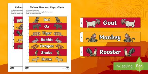 Chinese New Year Animals Paper Chain Activity