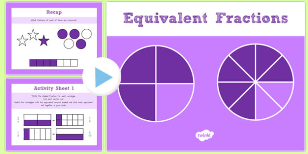 Year 3 Equivalent Fractions PowerPoint with Worksheets - australia