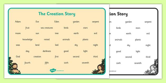 Adam and Eve Creation Story Word Mat - Adam, Eve, Eden, serpent, fruit, earth, garden, creation, creation story,word mat, writing aid, mat, paradise, sea creatures, birds, stars, moon, sun, tree, evil, knowledge, animals, sky, night, day