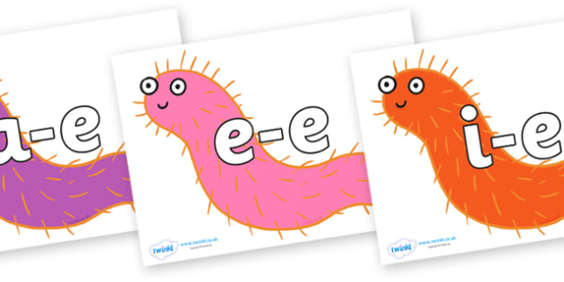 Modifying E Letters on Bristle Worm to Support Teaching on Sharing a Shell - Modifying E, letters, modify, Phase 5, Phase five, alternative spellings for phonemes, DfES letters and Sounds
